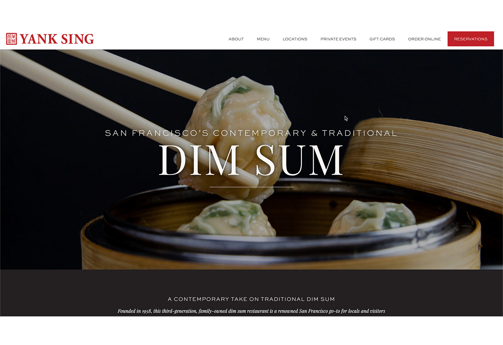 Screenshot of home page for Yank Sing restaurant in San Francisco featuring chopsticks lifting steamed dumpling.