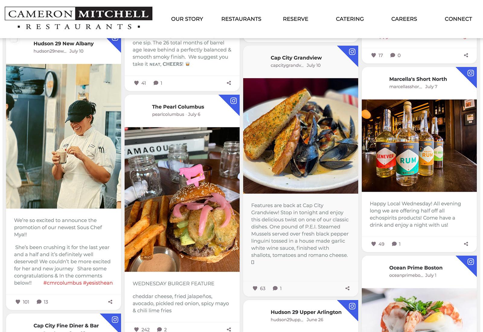 Array of Cameron Mitchell Restaurants social media posts