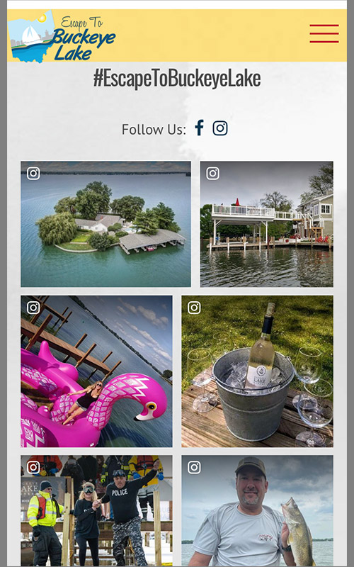 Screenshot of the mobile view of the social feed on the home page for Escape to Buckeye Lake