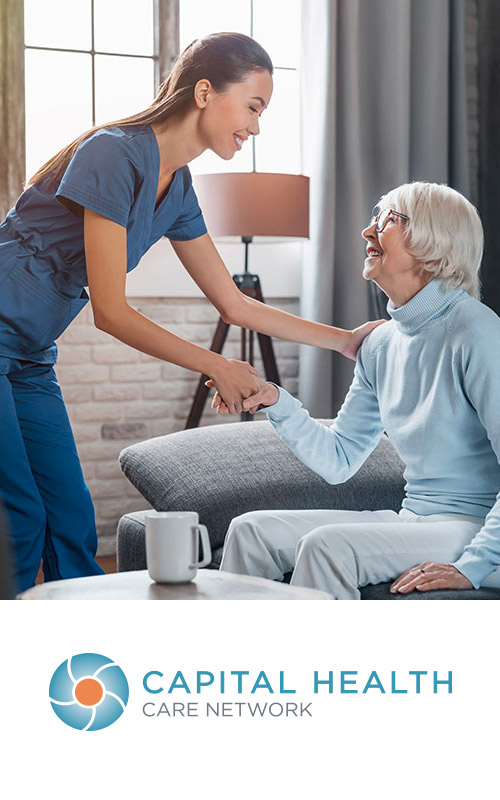 Capital Health Care Network logo with photo of patient care