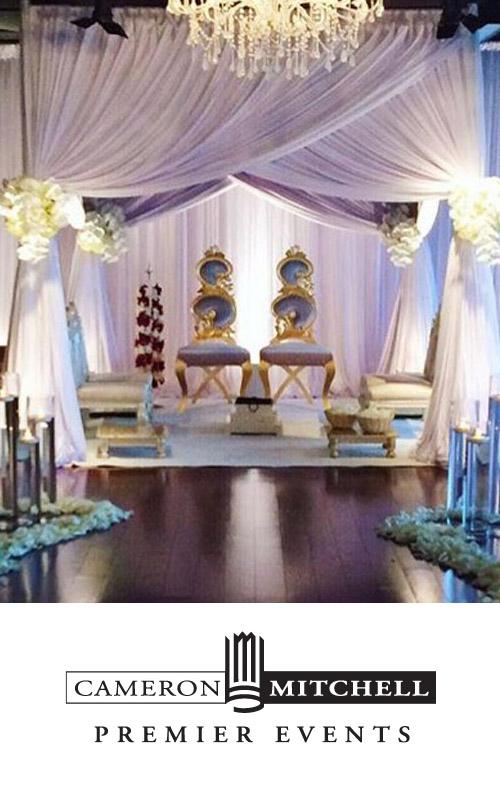 Cameron Mitchell Premier Events logo with photo of wedding ceremony set