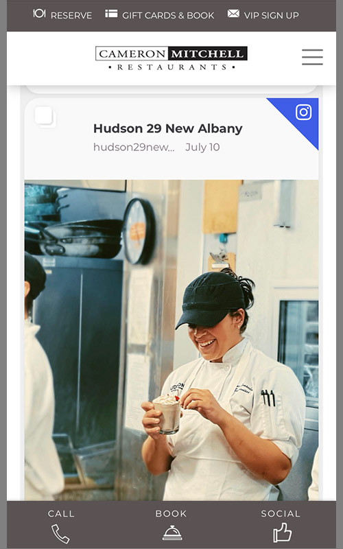 Screenshot of the mobile view of a web page pulling in Instagram posts for Cameron Mitchell Restaurants