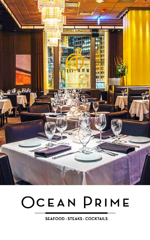 Ocean Prime logo with photo of Chicago dining room